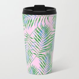 Fern Leaves Pink Travel Mug