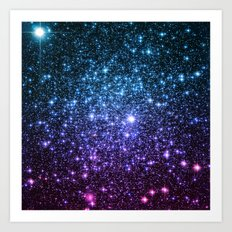 Galaxy Stars : Teal Violet Pink Ombre Art Print