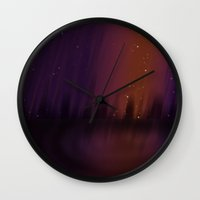 theater Wall Clocks featuring Purple Theater by Thedustyphoenix