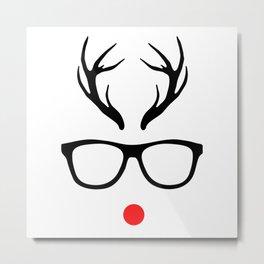 Glasses Christmas Metal Print