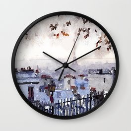 Rainy Day in Paris. Wall Clock