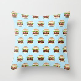 Rows of burgers on pale blue Throw Pillow