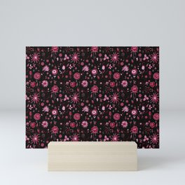 Pink and black floral with wild roses Mini Art Print