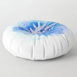 Blue Abstract Watercolor Seashell Rubber Stamp on White 6 Minimalist Coastal Art Floor Pillow