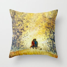 Oil painting romance and love. A loving couple and cat - young man and beautiful girl are sitting Throw Pillow