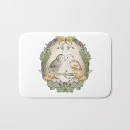 Watercolor Barn Owls in a Forest Plants and Fungi Mushroom Frame Bath Mat