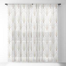Art Deco Waterfalls // White Sheer Curtain