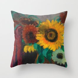 Sonnenblumen mit Fuchsschwanz - Sunflowers Still Life by Emil Nolde Throw Pillow