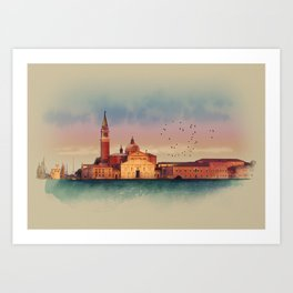 Soft watercolor sunset with views of San Giorgio island, Venice, Italy. Art Print