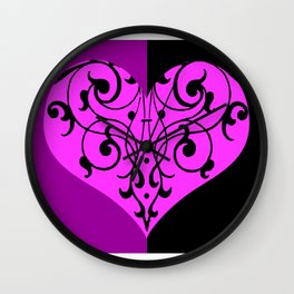 Gothic Victorian Black and Purple Heart Wall Clock