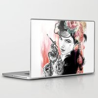burlesque Laptop & iPad Skins featuring Burlesque Cat Woman by Anastazja Bak