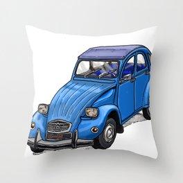 Blue 2CV Throw Pillow