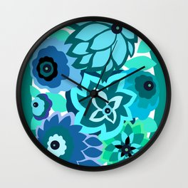 CAMBRIA, ART DECO FLORALS: TRENDY TURQUOISE Wall Clock