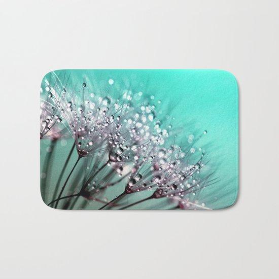 dandelion, mint, turquoise Bath Mat