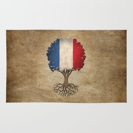 Vintage Tree of Life with Flag of France Rug