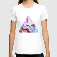 lines T-shirts featuring Agate, a vivid Metamorphic rock on Fire by Elena Kulikova