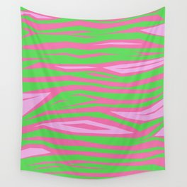 Punky Pink And Green Stripy Animal Print Wall Tapestry