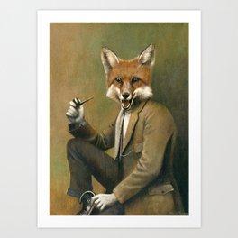 Vintage Fox In Suit Art Print