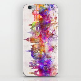 Cluj-Napoca skyline in watercolor background iPhone Skin