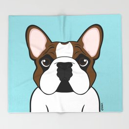 Frenchie - Fawn Pied Throw Blanket
