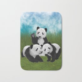 Panda Bear Cubs Love Bath Mat
