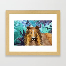 The Inquisitive Collie of the Psychedelic Dog Parade Framed Art Print