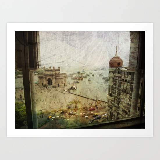 Taj Mahal Palace hotel and the Gateway of India monument, Mumbai, India Art Print