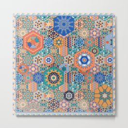 Hexagons Tiles (Colorful) Metal Print