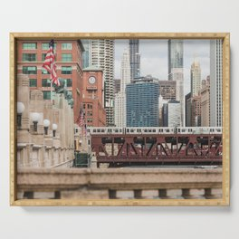 Wells Street Bridge - Chicago Photography Serving Tray