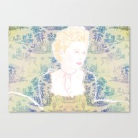marie antoinette Canvas Prints featuring MARIE ANTOINETTE by Itxaso Beistegui Illustrations
