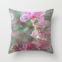 fringe Throw Pillows featuring Fringe Flower by Sandy Moulder
