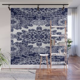Blue Floral Damask Wall Mural