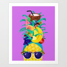 Chiquita Pineapple Purple Party Art Print