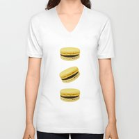 macaroons V-neck T-shirts featuring Macaroons by Maramgaram