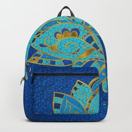 Blue Teal Lotus with Golden Accents Backpack
