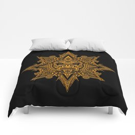 Ancient Yellow and Black Aztec Sun Mask Comforters