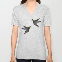 Black and White Paper Cranes Unisex V-Neck