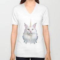 unicorn V-neck T-shirts featuring Unicorn Cat by Oh Monday