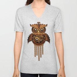 Steampunk Owl Vintage Style Unisex V-Neck