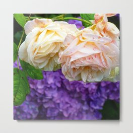 Pink Rose and Lilacs Metal Print