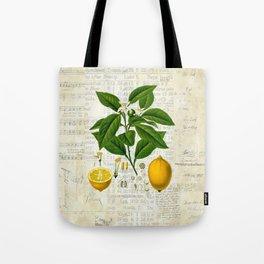 Lemon Botanical print on antique almanac collage Tote Bag