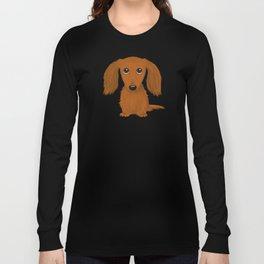 Cute Dog | Longhaired Red Dachshund Cartoon Long Sleeve T-shirt