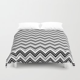 Zigzag Pattern, Chevron Pattern - White Black Duvet Cover