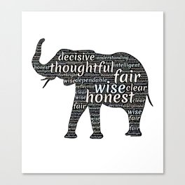 Elephant with words Canvas Print