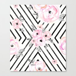 Blush Roses Mod Canvas Print