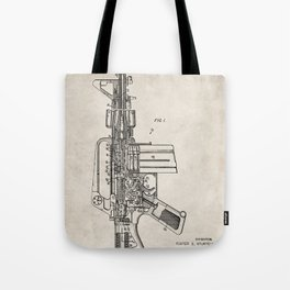 M16 Rifle Patent - Military Rifle Art - Antique Tote Bag