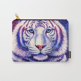 Among the Stars Colorful Cosmic White Tiger Carry-All Pouch