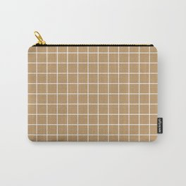Wood brown - brown color - White Lines Grid Pattern Carry-All Pouch