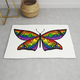 Fly With Pride: LGBTQ Flag Butterfly Rug
