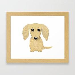 Longhaired Cream Dachshund Framed Art Print